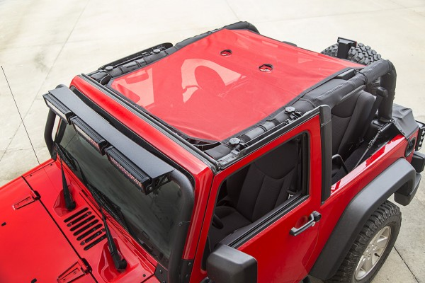 Rugged Ridge Eclipse Sun Shade Full - Red - Installed (High Res)