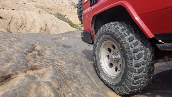 Cooper Discoverer STT Pro's down to 14 psi in the rocks - the sidewalls squatted nicely and helped create a great footprint for the Moab slickrock.