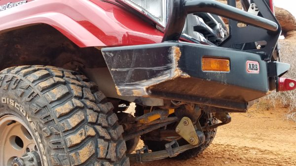 My BJ74 may be a princess when it comes to the sheet metal, but the bumpers, sliders and tires are fair game...